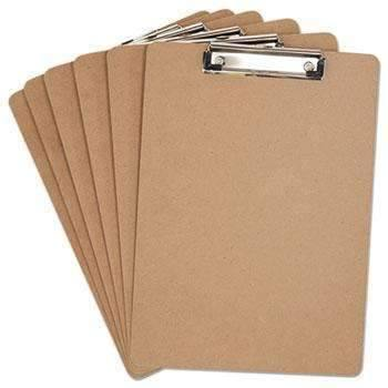 Janitorial SuperstoreUniversal® Hardboard Clipboard, 1/2 Capacity, Holds 8 1/2w x 12h, Brown, 6/Pack