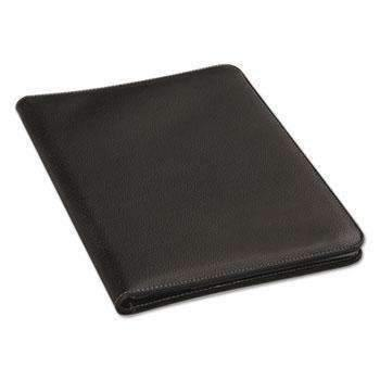 Janitorial Superstore Universal® Leather-Look Pad Folio, Inside Flap Pocket w/Card Holder, Black - Janitorial Superstore