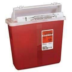 UNIMED Sharps Containers, Polypropylene, 5 qt, 4 3/4 x 10 3/4 x 11 1/2, Red