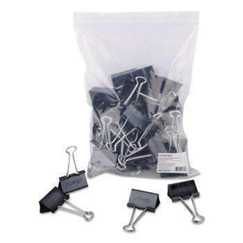 "Janitorial Superstore Universal® Large Binder Clips, Zip-Seal Bag, 1"" Capacity, 2"" Wide, Black, 36/Bag - Janitorial Superstore"