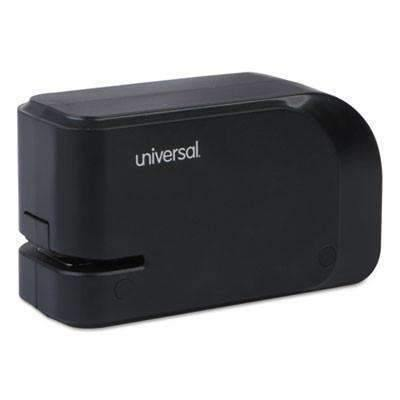 Janitorial SuperstoreUniversal® Electric Half-Strip Stapler w/Staple Channel Release, 20-Sheet Capacity, Black UNV43120