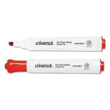 Janitorial Superstore Universal® Dry Erase Marker, Chisel Tip, Red, Dozen - Janitorial Superstore