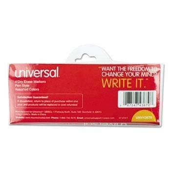 Janitorial Superstore Universal® Pen Style Dry Erase Markers, Fine/Bullet Tip, Assorted, 4/Set - Janitorial Superstore