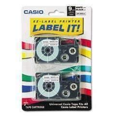 Janitorial Superstore CASIO, INC. Tape Cassettes for KL Label Makers, 9mm x 26ft, Black on White, 2/Pack - Janitorial Superstore