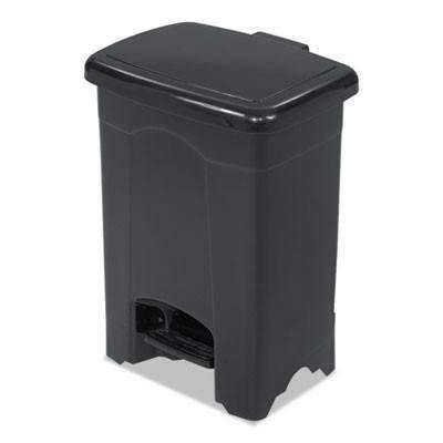 Janitorial Superstore4gal, Black Safco Products Step-On Receptacle, Rectangular, Plastic,