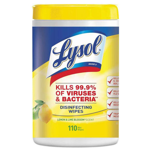 Lysol Lysol Disinfecting Wipes, 7 x 8, Lemon and Lime Blossom, 110 Wipes/Canister - Janitorial Superstore
