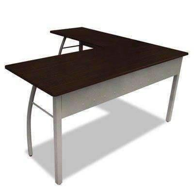 Janitorial SuperstoreLINEA ITALIA Trento Line L-Shaped Desk, 59-1/8w x 59-1/8d x 29-1/2h, Mocha/Gray