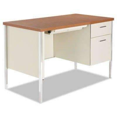 Janitorial SuperstoreALERA Single Pedestal Steel Desk, Metal Desk, 45-1/4w x 24d x 29-1/2h, Cherry/Putty
