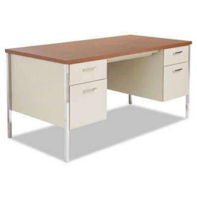 Janitorial SuperstoreALERA Double Pedestal Steel Desk, Metal Desk, 60w x 30d x 29-1/2h, Cherry/Putty
