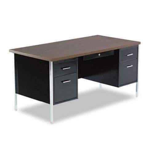 Janitorial SuperstoreALERA Double Pedestal Steel Desk, Metal Desk, 60w x 30d x 29-1/2h, Mocha/Black