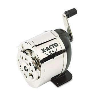 X-ACTOX-ACTO KS Manual Classroom Pencil Sharpener, Counter/Wall-Mount, Black/Nickel-plated