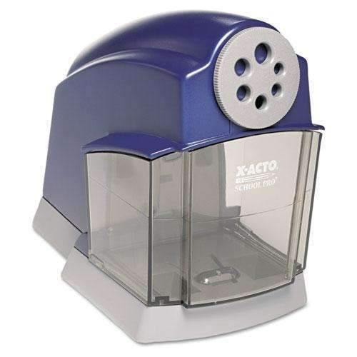 X-ACTO X-ACTO® School Pro Classroom Electric Pencil Sharpener, Blue/Gray - Janitorial Superstore