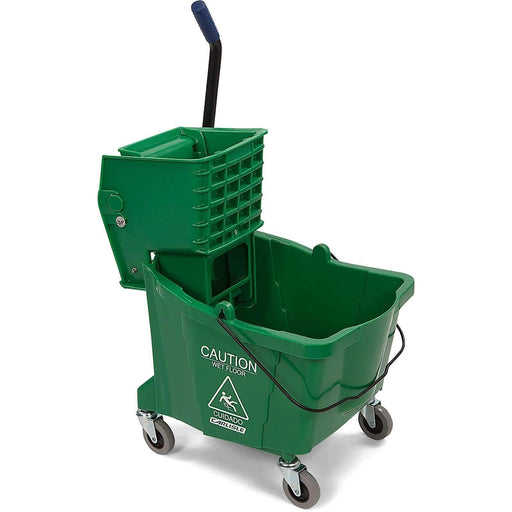 Janitorial Superstore35QT GREEN MOP BUCKET,HEAVY DUTY SIDE PRESS WRINGER,