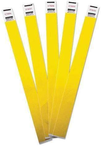 Management Wristbands, Sequentially Numbered, 9 3/4 x 3/4, Yellow, 500/PK