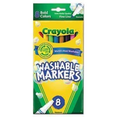 Janitorial SuperstoreCrayola 587836 Washable Markers, Fine Point, Bold Colors, 8/Set
