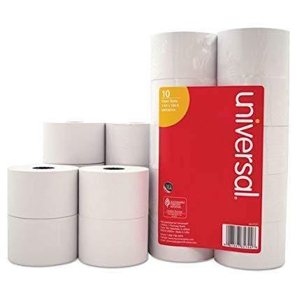 Universal ProductsUniversal Products Impact & Inkjet Print Bond Paper Rolls, 0.5 Core, 1.75 x 138 ft, White, 10/Pack