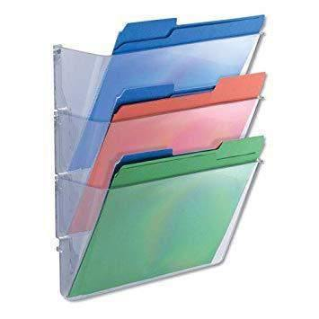 Universal Products Universal 3 Pocket Wall File Starter Set, Letter, Clear - Janitorial Superstore