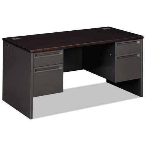 Janitorial SuperstoreHON COMPANY 38000 Series Double Pedestal Desk, 60w x 30d x 29-1/2h, Mahogany/Charcoal