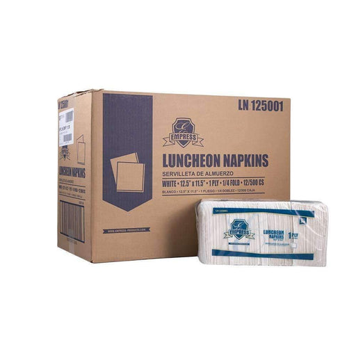EmpressEmpress LN 125001 Luncheon Napkin 11.5 X 12.5, 1/4 Fold, 1Ply, White, 12 Packs of 500 Sheets
