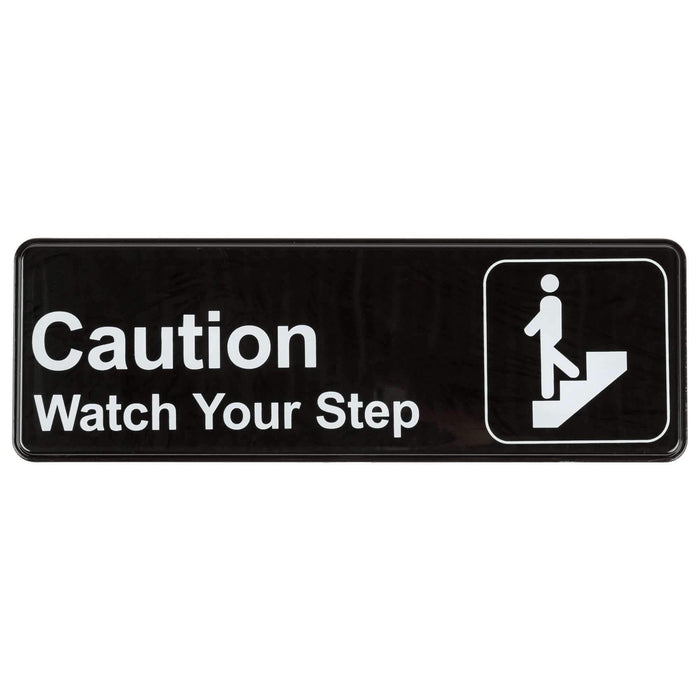 Janitorial SuperstoreCaution, Watch Your Step Sign - Black and White, 9 x 3