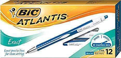 Bic Atlantis Exact Retractable Ballpoint Pen, Fine 0.7mm, Blue Ink/Barrel, Dozen
