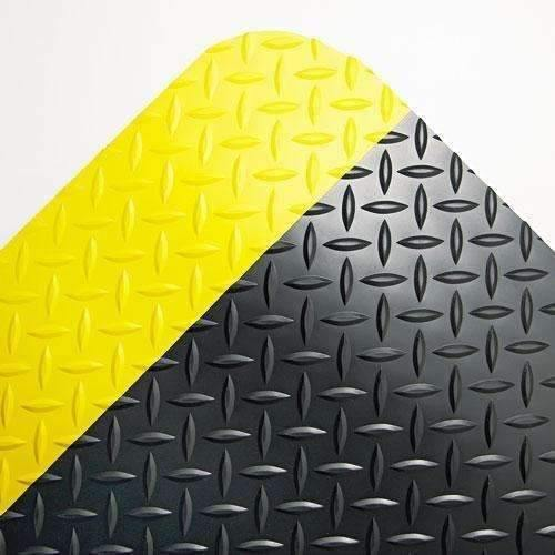 Janitorial SuperstoreIndustrial Deck Plate Anti-Fatigue Mat, Vinyl, 24 x 36, Black/Yellow Border