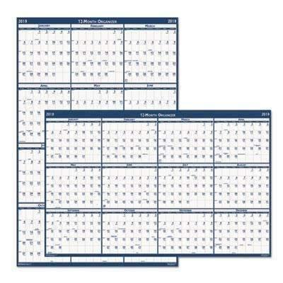 Janitorial Superstore HOUSE OF DOOLITTLE Recycled Poster Style Reversible/Erasable Yearly Wall Calendar, 32 x 48, 2021 - Janitorial Superstore