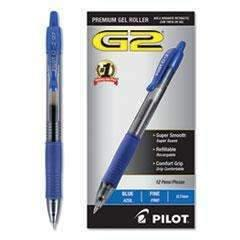 PILOT CORP. OF AMERICA G2 Premium Retractable Gel Pen, 0.7mm, Blue Ink, Smoke Barrel, Dozen