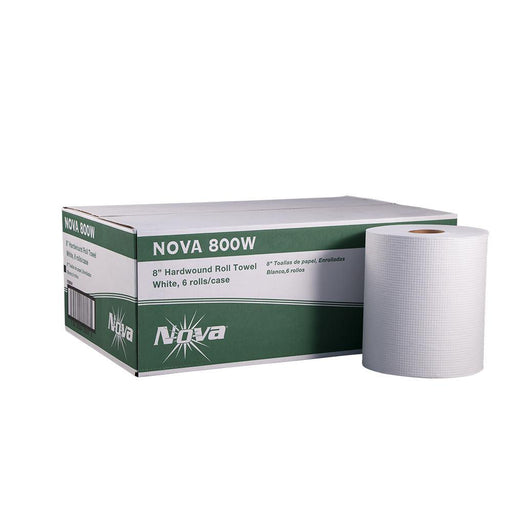 "Nova Nova 800W 8"" Hardwound Roll Towel, White, 800 Ft, 6 Case (6113) - Janitorial Superstore"