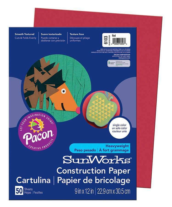 PaconSunWorks® Construction Paper (6103), 58 lbs., 9 x 12, Red, 50 Sheets/Pack