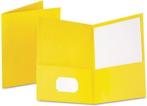 Oxford Oxford Twin-Pocket Folder, Embossed Leather Grain Paper, Yellow, 25/Box - Janitorial Superstore