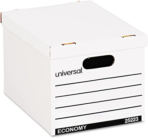 "Universal Products Universal Basic-Duty Economy Record Storage Boxes, Letter/Legal Files, 12"" x 15"" x 10"", White, 10/Carton - Janitorial Superstore"