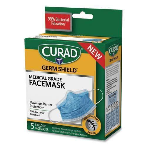 Medline Germ Shield Medical Grade Maximum Barrier Face Mask, Pleated, 10/Box