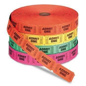 Janitorial SuperstorePM Company® Admit One Single Ticket Roll, Numbered, Assorted, 2000 Tickets/Roll