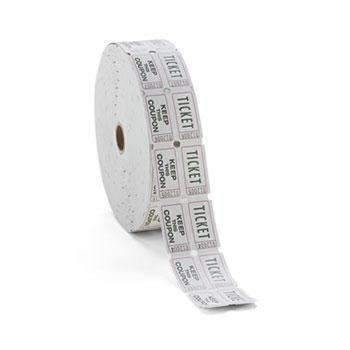 PM Company® Consecutively Numbered Double Ticket Roll, White, 2000 Tickets/Roll