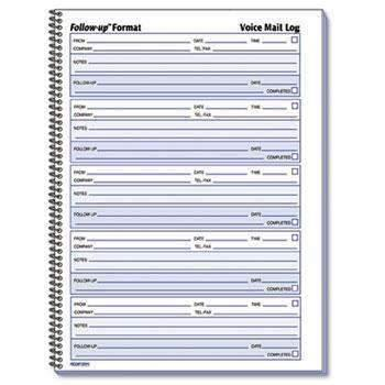 Janitorial SuperstoreRediform® Voice Mail Wirebound Log Books, 8 x 10 5/8, 500 Sets/Book