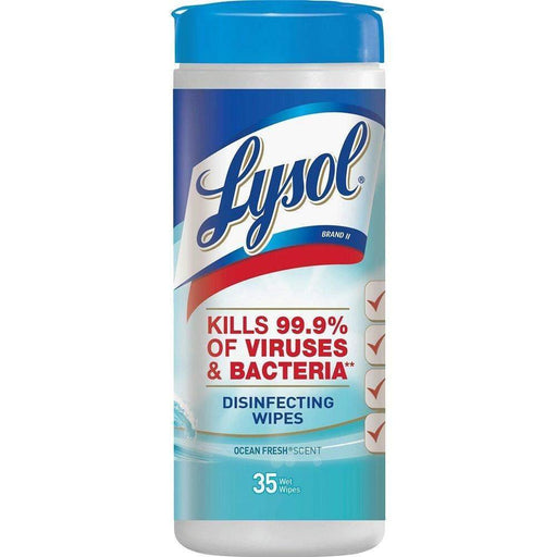 Lysol Lysol Disinfecting Wipes, 7 x 8, Ocean Fresh, 35 Wipes/Canister - Janitorial Superstore