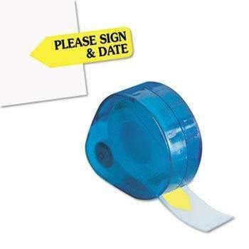 "Janitorial Superstore Redi-Tag® Arrow Message Page Flags in Dispenser, ""Please Sign and Date"", Yellow, 120 Flags - Janitorial Superstore"