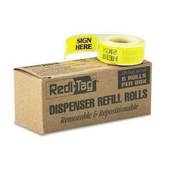 "Janitorial Superstore Redi-Tag® Arrow Message Page Flag Refills, ""Sign Here"", Yellow, 6 Rolls of 120 Flags - Janitorial Superstore"