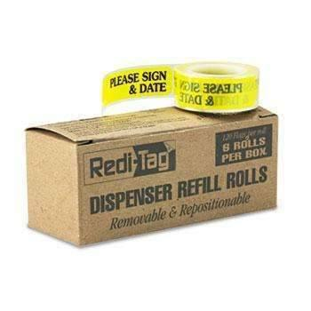 "Janitorial Superstore Redi-Tag® Arrow Message Page Flag Refills, ""Please Sign & Date"", Yellow, 120/Roll, 6 Rolls - Janitorial Superstore"
