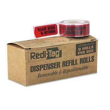 "Janitorial Superstore Redi-Tag® Arrow Message Page Flag Refills, ""Please Sign & Return"", Red, 120/Roll, 6 Rolls - Janitorial Superstore"