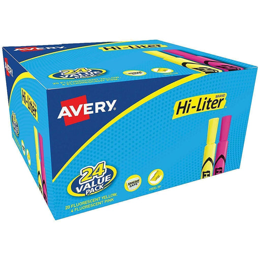 Janitorial Superstore AVERY PRODUCTS CORPORATION HI-LITER Desk-Style Highlighters, Chisel Tip, Assorted Colors, 24/Pack - Janitorial Superstore