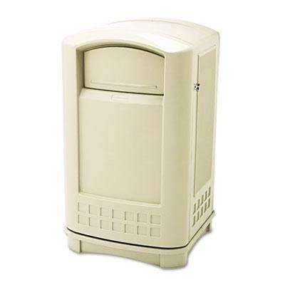 Janitorial SuperstoreRUBBERMAID COMMERCIAL PROD. Plaza Indoor/Outdoor Waste Container, Rectangular, Plastic, 50gal, Beige