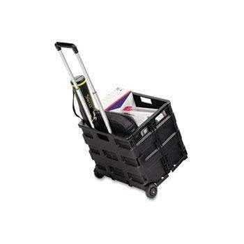 Janitorial Superstore Safco® Stow And Go Rolling Cart, 16-1/2 x 14-1/2 x 39, Black - Janitorial Superstore