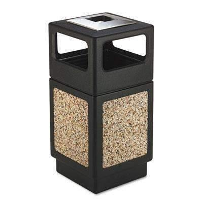 Janitorial Superstore Safco Products 9473NC Canmeleon Aggregate Panel Trash Can, Ash Urn/Side Open, 38-Gallon, Black - Janitorial Superstore