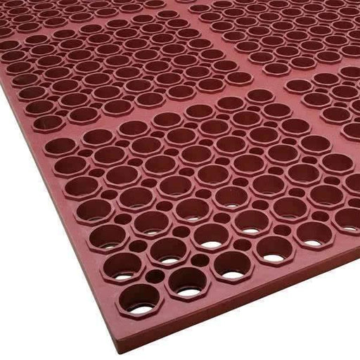 Janitorial Superstore3 x 5 Red Heavy-Duty Grease-Resistant Rubber Anti-Fatigue Floor Mat Terra Cotta