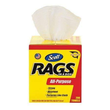 Kimberly-Clark Scott Rags in a Box, POP-UP Box, 10 x 12, White, 200/Box - Janitorial Superstore