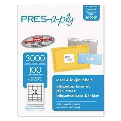 Janitorial SuperstorePRES-a-ply® Laser Address Labels, 1 x 2 5/8, White, 3000/Box