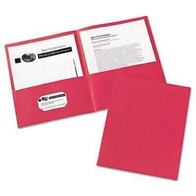 Janitorial Superstore Avery® Two-Pocket Folder, 40-Sheet Capacity, Red, 25/Box - Janitorial Superstore
