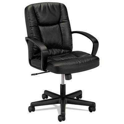 BasyxBasyx® VL171 Series Executive Mid-Back Chair, Black Leather